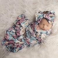 Newborn Receiving Blanket Headband Set Floral Printed Baby Swaddle Blanket Soft Sleeping Wrap Blankets 0-3M (2#)