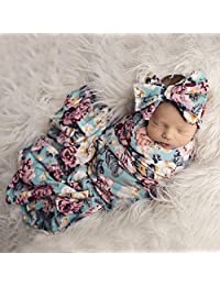 Newborn Receiving Blanket Headband Set Floral Printed Baby Swaddle Blanket Soft Sleeping Wrap Blankets 0-3M