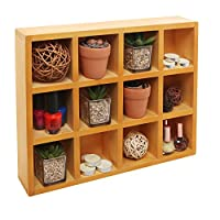 Wooden Freestanding / Wall Mounted 12 Compartment Shadow Box / Display Shelf ...