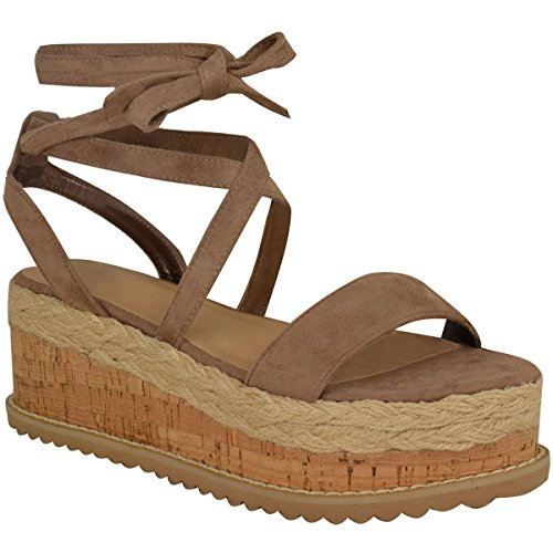 Fashion Thirsty Womens Flatform Cork Espadrille Wedge Sandals Ankle Lace Up Shoes Size 9