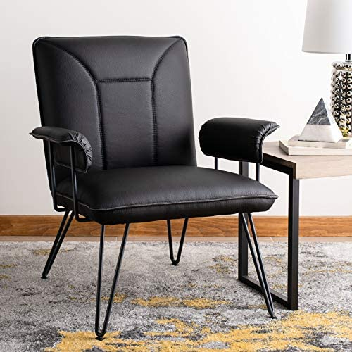 Safavieh Home Johannes Mid-Century Modern Black Faux Leather Arm Chair