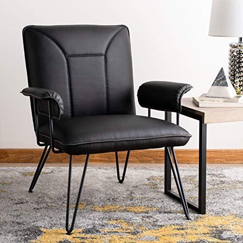 Safavieh Home Johannes Mid-Century Modern Black Faux Leather Arm Chair