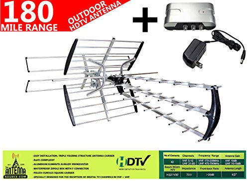 Original 42 Element HD TV/HDTV Outdoor Directional Antenna VHF/UHF + 13dB Powered Amplifier Booster ()