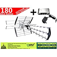 AntennaMastsRus -The Original 42 Element HD TV/HDTV Outdoor Directional Antenna VHF/UHF + 13dB Powered Amplifier Booster