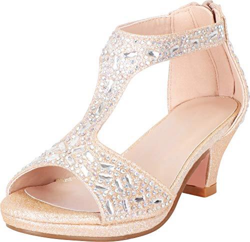 Cambridge Select Girls' Open Toe T-Strap Glitter Crystal Rhinestone Low Heel Sandal (Toddler/Little Kid/Big Kid),10 M US Toddler,Champagne