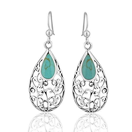 925 Sterling Silver Long Pear Shape Swirl Blue-green Reconstructed Turquoise Gemstone Dangle Earring