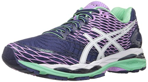 ASICS Women's Gel-Nimbus 18 Running Shoe, Indigo Blue/White/Spring Bud, 5 M US