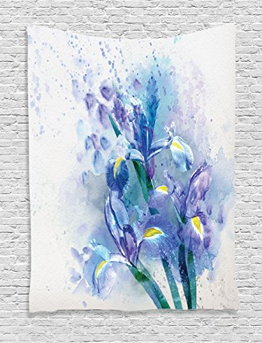 Ambesonne Watercolor Flower Decor Tapestry, Floral Background with Pretty Irises in Fresh Colors Nature Earth Spirit, Bedroom Living Room Dorm Decor, 40 W x 60 L Inches, Lilac Teal Ecru