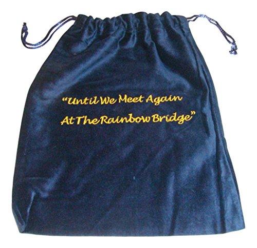 Rainbow Bridge Embroidered Velvet Urn Cremains Bags - Blue 10