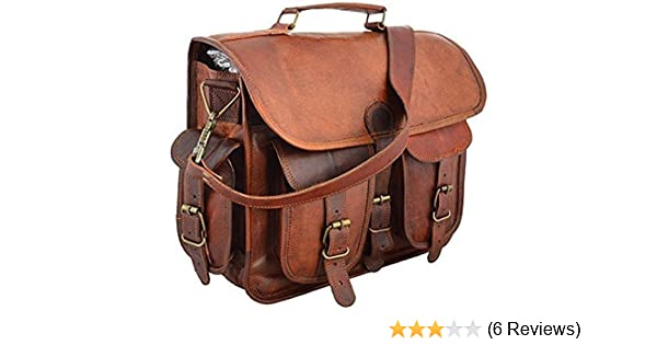 Christmas Heavy Discount Sale 100/% Pure Leather with free shipping One Size Sankalp Leather Real Goat Leather Vintage Brown Messenger Laptop Bag