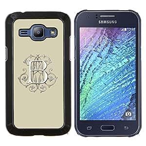 KLONGSHOP // Cubierta de piel con cierre a presión Shell trasero duro de goma Protección Caso - b carta blanca inicial caligrafía amarillento - Samsung Galaxy J1 J100 //