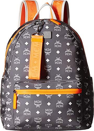 MCM Mens Resnick White Logo Nylon Backpack 40 White Logo Smoked Pearl One Size