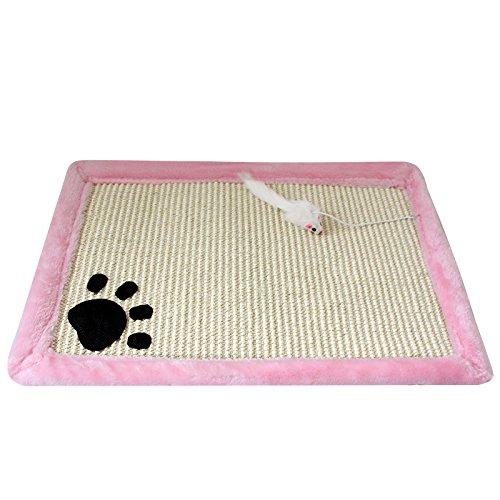 New Sisal Cat Scratching Mat Cute Kitten Pet Scratch Plush Board Claw Mats With Toy (Pink)