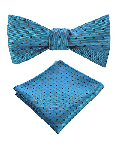 - JEMYGINS Original Blue Dot Mens Bowtie Self Bow Tie & Pocket Square Set (02#4)