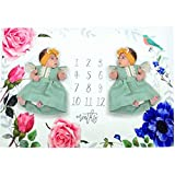 WINGOFFLY 0-1 Years Flannel Infant Baby Monthly Milestone Blanket Swaddling Blanket for Photography Backdrop Photo Prop, Twins