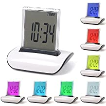 Digital Alarm Clock, 7 LED Color Changing Digital LCD Thermometer Calendar Alarm Clock