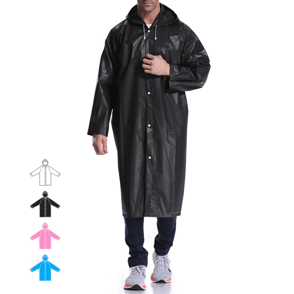 Hapshop Portable Waterproof Raincoat,Rain Poncho,Rainwear for Adult (Black-2Pack)