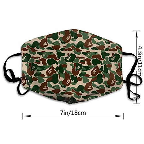SGHGSAxbh Aniaml Bape Camouflage Green Face Mask Dust Mask Anti Pollution Face Mask Washable Cotton Mouth Mask Men and Women for All Ages