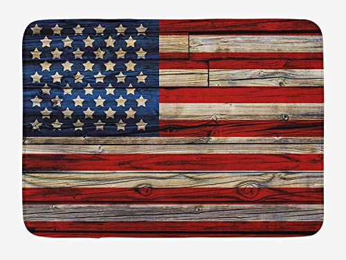 (4th of July Bath Mat, Wooden Planks Painted as United States Flag Patriotic Country Style, Plush Bathroom Decor Mat with Non Slip Backing, 23.6 W X 15.7 W Inches, Red Beige Navy Blue)