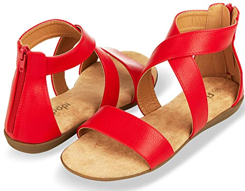 (Floopi Sandals for Women | Open Toe, Gladiator/Criss Cross-Design Summer Sandals W/Zip Up Back | Comfy, Faux Leather Ankle Straps W/Flat Sole, Memory Foam Insole | (8, Red-515))