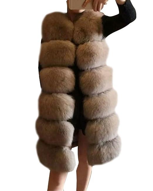 designer fashion 082c6 520c9 Donna Lungo Gilet Falso Pelliccia Sintetica Senza Maniche Cappotto Parka  Giubbotti Giacca Invernali