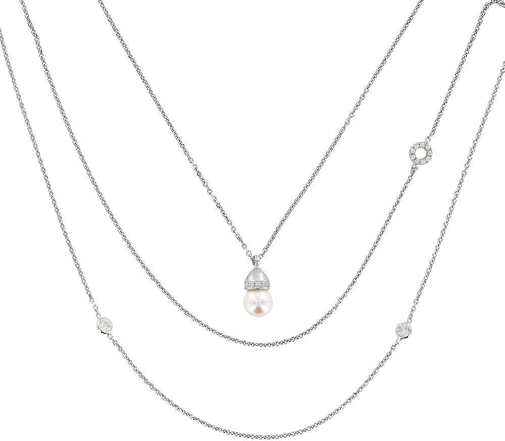 Jouailla-3 Vueltas de plata 925/1000 rodiado-Perlas de Swarovski (ø8mm)-óxidos de circonio
