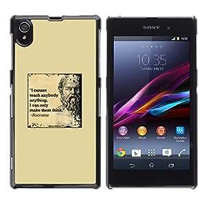 Sócrates Amarillo Cita Mármol Profundo Elegante- Metal de aluminio y de plástico duro Caja del teléfono - Negro - Sony Xperia Z1 L39