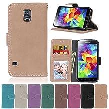 S5 Flip Case, Galaxy S5 case, Samsung Galaxy S5 Case Cover,YiLin PU Leather Flip Folio Wallet Case Cover for Samsung Galaxy S5 - BEIGE