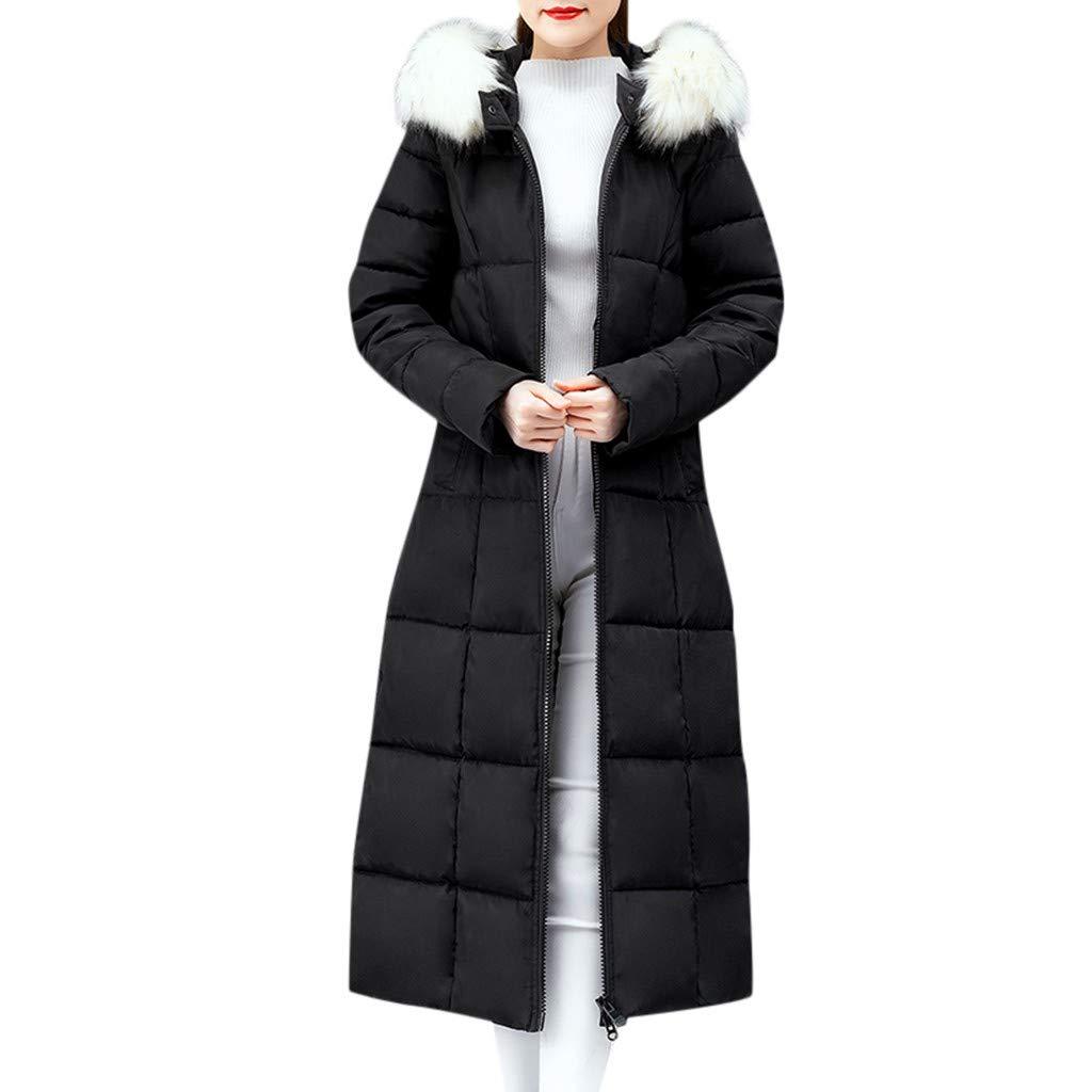 Wenini Women's Winter Slim Warm Cotton Padded Long Faux Fur Hooded Jacket Coat Outerwear by Wenini Women Coat