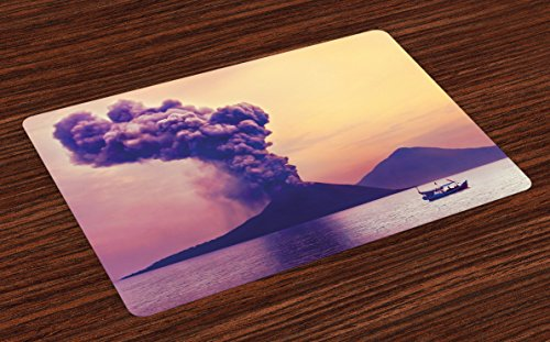 Lunarable Volcano Place Mats Set of 4, Dangerous Natural Activity in Anak Krakatau Indonesia Mountain with Smoke, Washable Fabric Placemats for Dining Room Kitchen Table Decor, Purple Coral Mustard by Lunarable