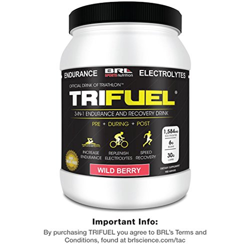 TRIFUEL 3-In-1 Triathlon Energy and Muscle Recovery Drink (Wild Berry) with BCAA Amino Acids and Electrolytes (Endurance Drink)