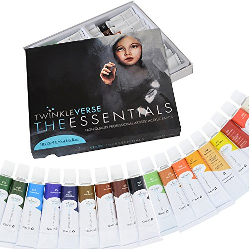 Acrylic Paint Set - 18 Artist Quality Acrylics - Canvas Paints, Arts and Craft Paint and Hobby Paint