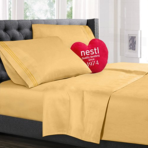 Bed Sheet Bedding Set, 100% Soft Brushed Microfiber with Deep Pocket Fitted Sheet - QUEEN - YELLOW - 1800 Luxury Bedding Collection, Hypoallergenic & Wrinkle Free Bedroom Linen Set By Nestl Bedding