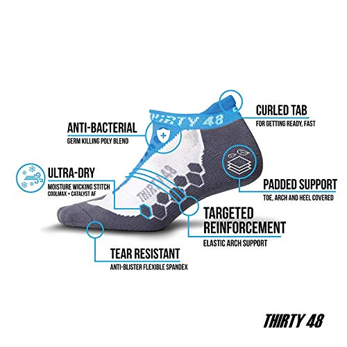 Thirty 48 Running Socks for Men and Women Features Coolmax Fabric That Keeps Feet Cool & Dry - 1 Pair or 3 Pair