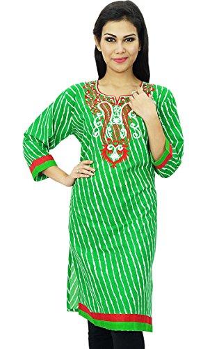 Diseñador indio de Bollywood Kurta mujeres del desgaste étnico Kurti vestido de algodón Verde