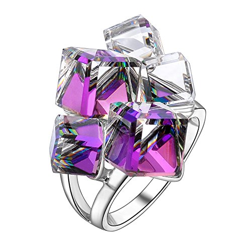 Crystal Silver Rings - dnswez Gradual Change Purple Crystals Silver Tone Statement Cocktail Rings for Women(8)