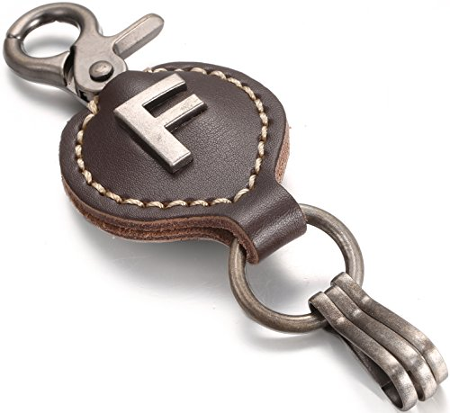 (Brown Leather Alphabet Keychain, Single Letter with Easy Clasp Key - by Marino Ave - F - onesize)