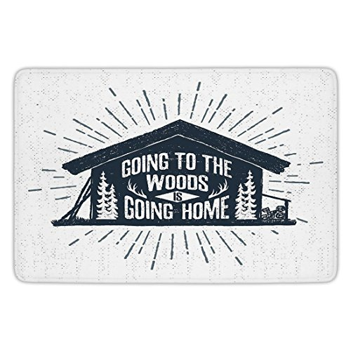 Bathroom Bath Rug Kitchen Floor Mat Carpet,Cabin Decor,Retro Style Hand Drawn Label with Wooden Cabin Chalet Quote Hipster Lodge,Black White Grey,Flannel Microfiber Non-slip Soft Absorbent (Label Flannel)