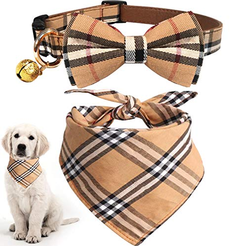 - KUDES 2 Pack Cat and Dog Collar Breakaway and Bandana Set with Bell, Adjustable Plaid Bowtie and Scarf Triangle Bibs Kerchief for Small/Medium/Large Dogs (Plaid, L)