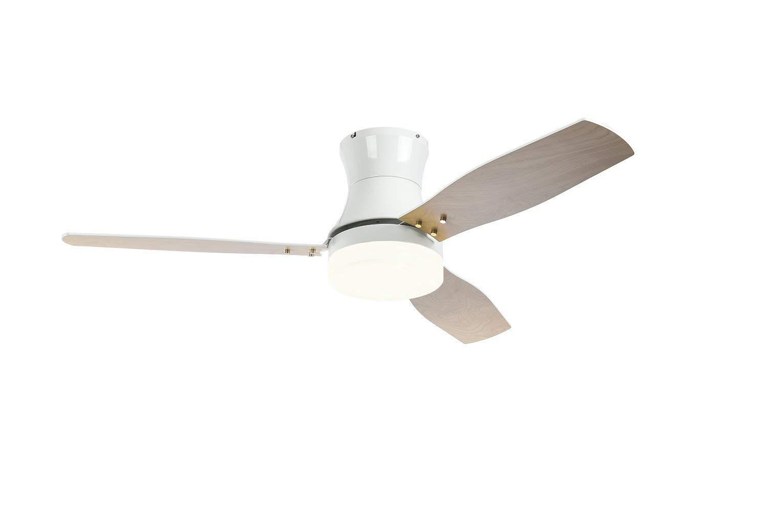 Ceiling Fans with Lights and Remote, Stamo 52 inch Indoor Ceiling Fan with Three Color LED Light, 3 Speed Remote Control Timing Function Super Noiseless 3 Blades, White