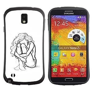 "Hypernova Slim Fit Dual Barniz Protector Caso Case Funda Para Samsung Note 3 [Mujer Chica Depresión Heartbreak Sad""]"