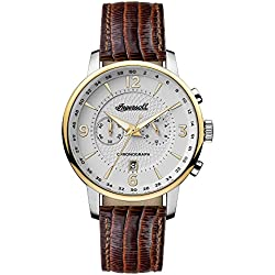 Ingersoll Men's Quartz Stainless Steel and Leather Casual Watch, Color:Brown (Model: I00602)