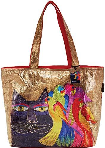 Laurel Burch Ebony Cat & Birds Foil Shoulder Tote Handbag One Size Gold tone multi