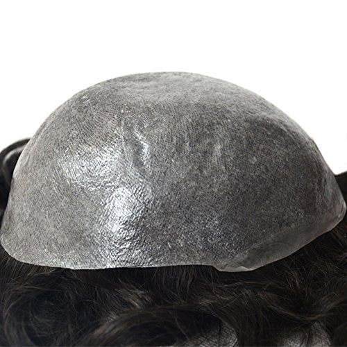 Human Hair Toupee for Men with 8x10 Inch 0.06mm Skin Cap V-looped and Black Vrigin Natural Wave Hair, Mens Toupee Wigs Hair Pieces Replacement System for Men by LLWear by LLWear (Image #3)