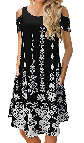BOCOTUBE Womens Casual Cold Shoulder Floral Print Short Sleeve Midi Swing Dress with Pockets