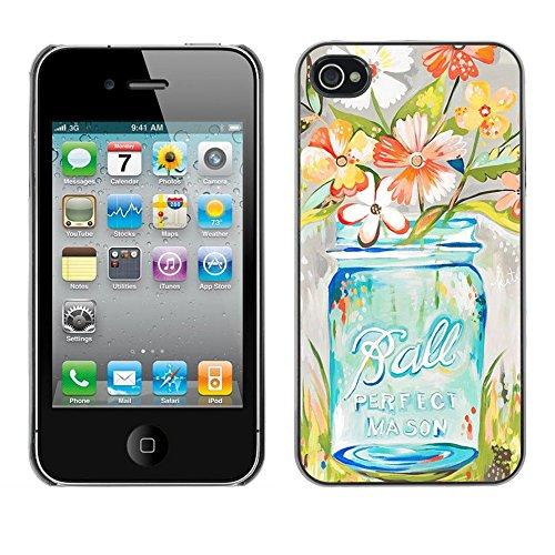 TopCaseStore / caoutchouc Hard Case Housse de protection la Peau - Flowers Vase Art Floral - Apple iPhone 4 / 4S