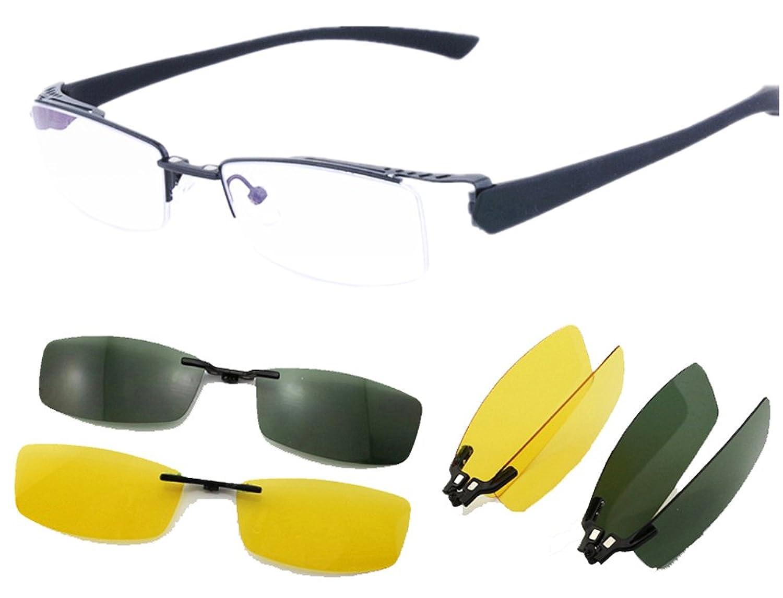 Agstum Mens Half Rimless Myopia Glasses Frame Magnetic Clip On Sunglasses