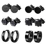 Finrezio 6 Pairs Stainless Steel Black CZ Hoop & Stud Earrings Set
