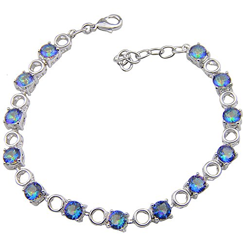 - Luckyshine Silver and Round Fire Rainbow Mystic Topaz Gems Adjustable Chain Bracelets Gifts for Women Jewelry