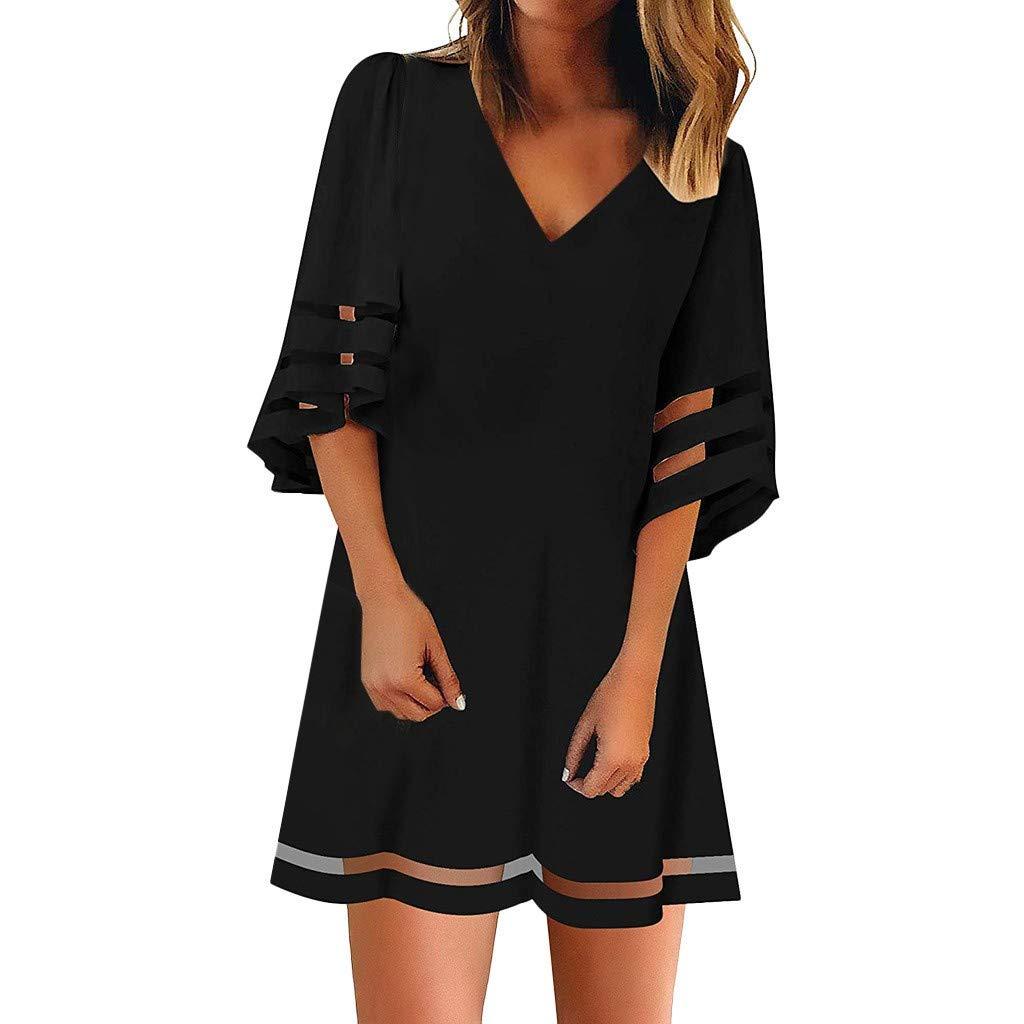 Frauen knielangen Rock konservativen Sommer V-Ausschnitt Mesh t/ägliche Freizeit Trend Kleid